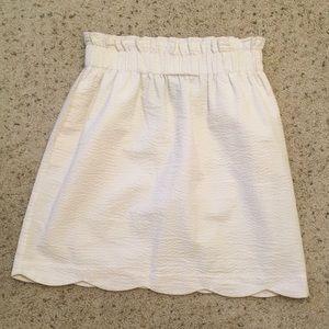 Lauren James White Scallop Seersucker Skirt
